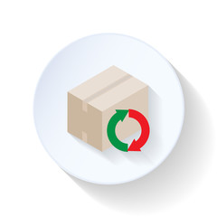 Box with recycling arrow flat icon