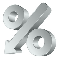 Percent Sign Arrow Down Silver