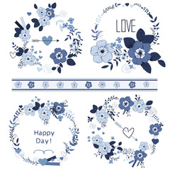Set of cute floral bouquets, card template.