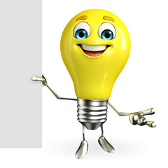 Light Bulb Character with sign