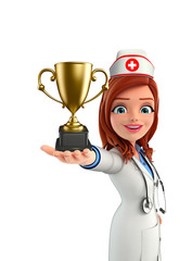 Nurse Character with trophy