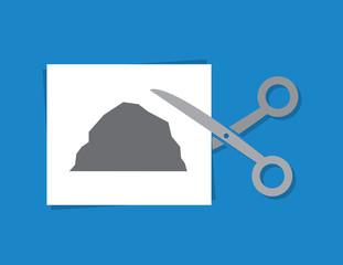 Rock Paper Scissors. Scissors cutting piece of paper with rock