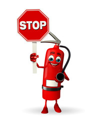 Fire Extinguisher character with stop sign