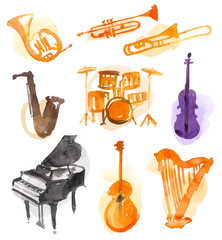 Music Instruments Watercolor