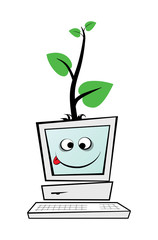 Computer with a green tree