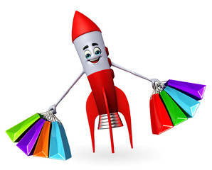 Rocket character with shopping bags
