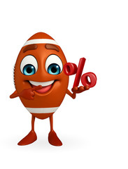 Rubgy ball character with Percentage
