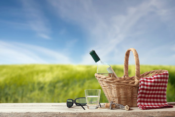 Picnic for one Person in a countryside Landscape