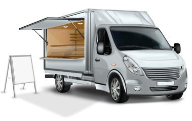 Verkaufsmobile, Imbisswagen mit Aufsteller freigestellt