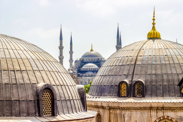 Blue Mosque in Istanbul shot from Sophia Hagia, Turkey