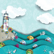 Lighthouse on the sea decorated