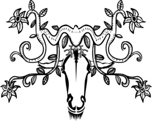 Ornamental decorative animal head with horns and flowers