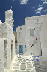 mykonos - street - church