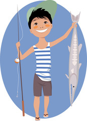 Little boy with a fishing rod and a fish