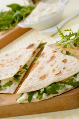 Piadina romagnola, close-up, fuoco selettivo
