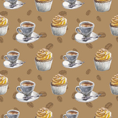 watercolor coffe and desert pattern