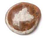 A loaf of fresh bread covered with rye flour in the shape of Bur poster