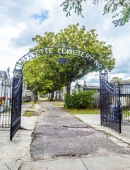 entrance of Lafayette Cemetery in New Orleans, Louisiana
