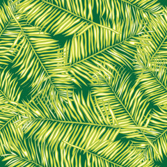 Palm leaves. Seamless vector background. Floral.