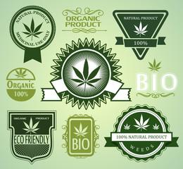 Set of Medical / medicinal marijuana labels.