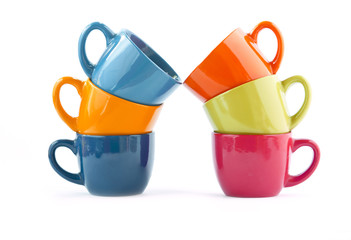 six multi-colored cups: