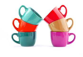 six multi-colored cups: