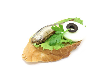 sandwich with smoked fish on a white background