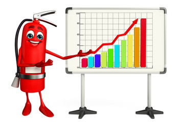 Fire Extinguisher character  with business graph