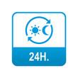 Etiqueta tipo app azul 24H
