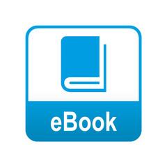 Etiqueta tipo app azul eBook
