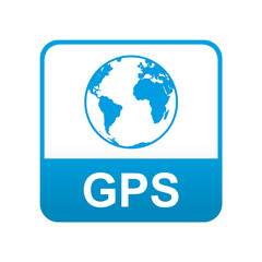 Etiqueta tipo app azul GPS
