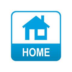 Etiqueta tipo app azul HOME