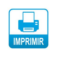 Etiqueta tipo app azul IMPRIMIR