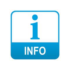 Etiqueta tipo app azul INFO