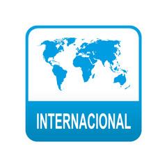 Etiqueta tipo app azul INTERNACIONAL