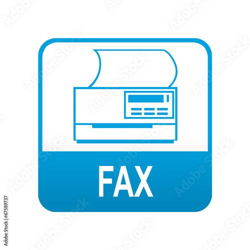 Etiqueta tipo app azul FAX