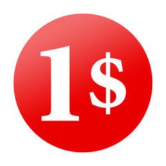 Etiqueta redonda roja 1$