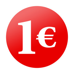 Etiqueta tipo app redonda roja 1€
