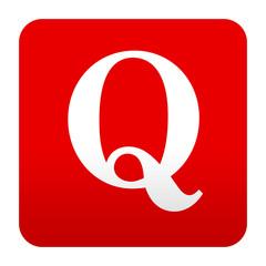 Etiqueta tipo app rojo simbolo Q