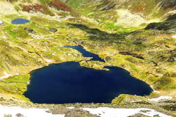 Beautiful summer landscape with lake from Fagaras mountains