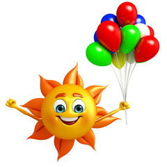 Sun Character With Balloon