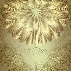 Beautiful card with a gold ornate ornaments