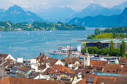 canvas print picture Luzern und Vierwaldstättersee