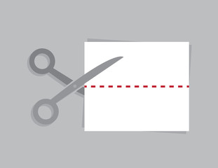 Scissors cutting a piece of paper at a dotted line