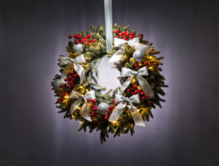 Advent wreath over silver grey background