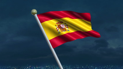 Looping Spanish Flag animation with sky background