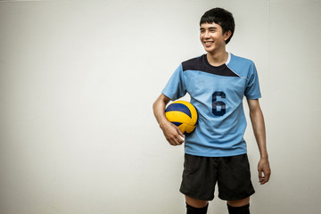 Asian Volleyball Athlete With Ball
