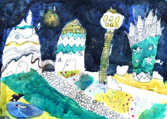 "Child's Artwork - ""Fantastic city"""