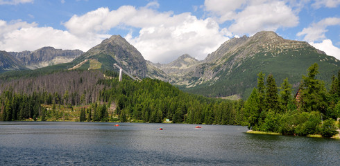 High Tatra mountains and lake Strbske, Slovakia, Europe