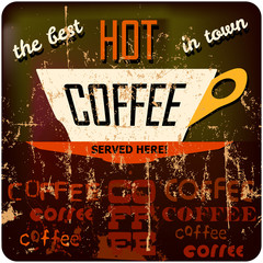 retro coffee sign, tag cloud, free copy space
